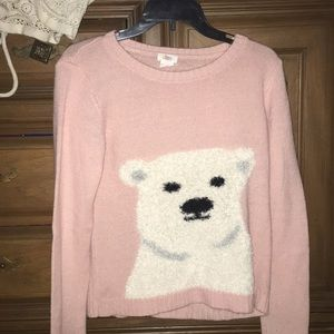 PINK YARN POLAR BEAR WITH BLUE SCARF SWEATER